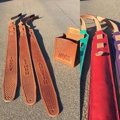 I can finally start sharing Christmas orders! These custom guitar straps and shotgun shell box pouch were fun to make for this family. #customguitarstrap #guitarstrap #customleather #trapshooting