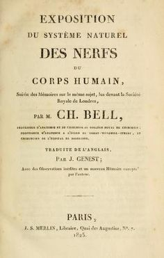 Exposition du système naturel des nerfs du corps humain : suivie des mémoires sur le même sujet, lus devant la Société Royale de Londres, par M. Ch. Bell (https://pinterest.com/pin/287386019943042633/), traduite de l'anglais par J. Genest. Paris, 1825.