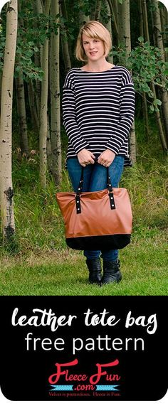 I love this leather tote bag tutorial. I love the sewing directions and how to make this functional bag! Perfect idea for those who like bags and purses to sew or sewing projects. Tote bag pattern free is my favorite. Sewing Hacks, Sewing Tutorials, Sewing Projects, Sewing Tips, Fleece Projects, Fun Projects, Sewing Crafts, Purse Patterns, Sewing Patterns Free