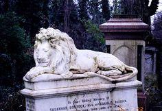The Stone Lion in Abney Park Cemetery Stoke Newington N London
