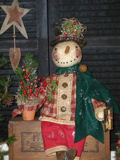 Primitive Olde Folk Art Snowman Doll**Christmas Tree In A Pot**Prim*Handcrafted* #NaivePrimitive #SharonHall