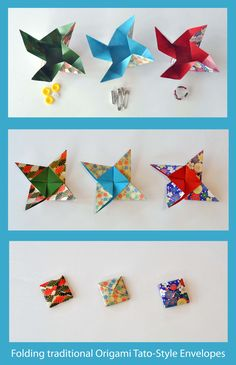 Learn how to fold this handy traditional origami 'tato'-style envelope, video by Leyla Torres here:  www.origamispirit.com/2013/06/how-to-make-a-traditional-origami-envelope/  Handy as:  - a pretty way to gift-wrap delicate jewellery like beaded rings or earrings  - secure storage for small, easily lost objects (hair pins, spare buttons, seeds, needles, sequins, stickers)  - an instant secure envelope on-the-go for things like broken jewellery