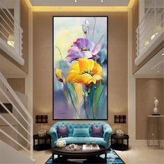 Gold art acrylic flower abstract paintings wall art pictures for living room wall decor blue thick texture canvas original home decoration - Gold acrylic flower wall decor abstract paintings on canvas original wall art pictures for living r - Acrylic Flowers, Abstract Flowers, Living Room Pictures, Wall Art Pictures, Flower Painting Canvas, Flower Paintings, Flower Canvas, Yellow Artwork, Abstract Paintings