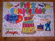 Ideas Para Fiestas, Blackboards, Diy Birthday, Art Drawings, Graffiti, Birthdays, Banner, Clip Art, Diy Crafts