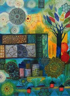 Tree of knowledge, painting by Tuuli Levit, mixed media,2012