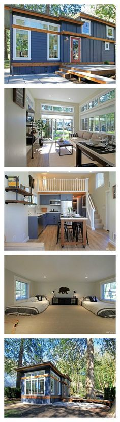 This tiny house at the Wildwood Cottage Resort has a clever layout that helps 399 square feet feel downright spacious. Located 90 miles north of Seattle, this former-camping-ground-turned-luxury-resort consists of 90 for-sale units,