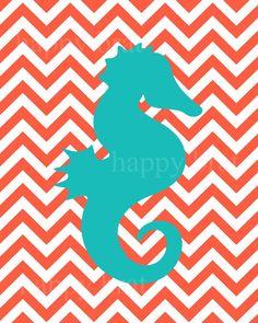 Seahorse Art Modern Art Prints SeahorseChevron 8 x by HappyBrat