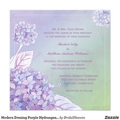 Modern Evening Purple Hydrangea Floral Wedding Card Elegant purple, lavender, blue, pink hydrangea flowers designed on custom Formal Wedding Invitations. All the sample text can be fully personalized with your own wording. Feel free to change the fonts, sizes & colors of the text as well. (You can find the matching wedding essentials & favors in this store, Bridal Heaven.