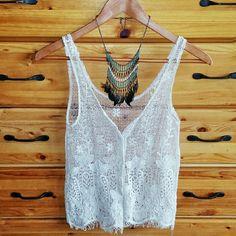 Crochet Button-up Tank Never worn cream crochet tank. Button down and make it into a vest. %100 cotton! Millau Tops Tank Tops
