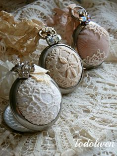 Pocket Watch Pincushion 'Vintage Linen' Reserved for by Todolwen