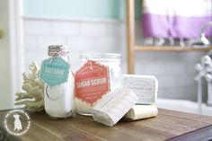 DIY - homemade salt soak recipe.... with links to her other blog posts for DIY sugar scrub and handmade  soaps... PLUS free labels!