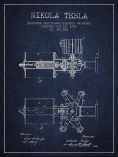 Tesla Print featuring the drawing Nikola Tesla Patent Drawing From 1886 - Navy Blue by Aged Pixel