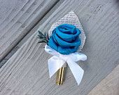 Turquoise Satin Rose And Bullet Boutonniere/Button hole/Boutonierre wedding/Groom/Groomsmen/Father of the Bride and Groom