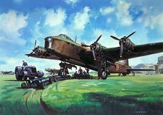 Short Stirling by Roy Cross Ww2 Aircraft, Military Aircraft, Aircraft Images, Fighter Aircraft, Aircraft Painting, Airplane Art, Cross Art, Ww2 Planes, Historical Art