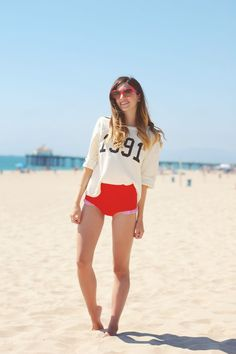 Emilee Anne wearing Wildfox swetshirt, Dior cat eye sunglasses and Urban Outfitters Bikini