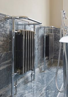 This beautiful bathroom radiator is a great example of a traditional period radiator with a built in, integral cast iron radiator. . . #bathroomradiator #towelwarmer # castironradiator #periodradiator #homedecor #interiordesign