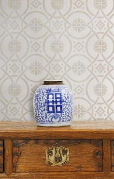 Wall Stencils | Eastern Tile Stencil | Royal Design Studio- for basement accent wall in tone-on-tone