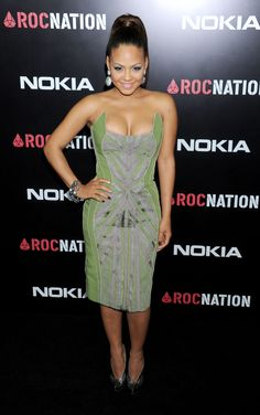 Singer Christina Milian at the Pre Grammy's Brunch in a Ready to Wear BASIL SODA dress