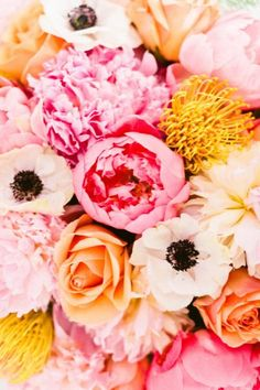 Colors - Peach and Mustard and Ivory?  Flowers Galore | Sea and Be Seen Inspiration