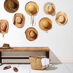hallway decorating 407927678724951442 - Straw hats beach hats bench storage hallway decor Source by soulouposeto Spring Home Decor, Diy Home Decor, Room Decor, Wall Decor, Hat Storage, Bench With Storage, Storage Ideas, Laundry Basket Organization, Palette Deco