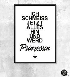 Typo Poster Prinzessin - Kunst & Bilder