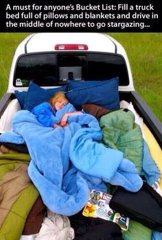 Stargazing in a open-back truck with a pile of duvets!