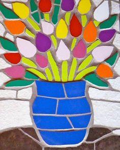 A Vase Of Tulips Mosaic Flower Flowers Valentines Mosaics Love ; Mosaic Designs, Mosaic Patterns, Painting Patterns, Mosaic Flower Pots, Mosaic Garden, Mosaic Wall Art, Mosaic Tiles, Wood Mosaic, Mosaic Crafts