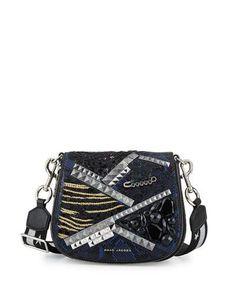 V3D1P Marc Jacobs Nomad Small Snake-Embossed Saddle Bag