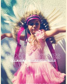 #Kids Hot #Pink #Leather #Indian #White #Feather #Headdress by #ParadiseGypsies