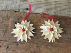 """Vintage Shaved Wood Snowflake Christmas Ornament 2"""" #Christmas"""