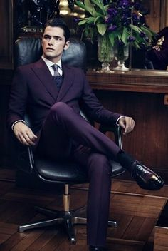 Nice dapper style with a purple double breasted suit black socks black  shoes navy v- 1684e8775f28d