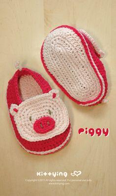 piggy baby booties #crochet