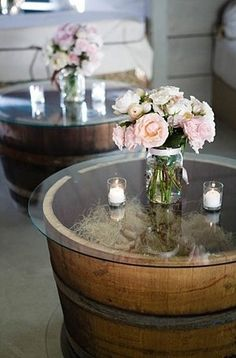 Inspirational ideas for decorating your home or rustic wedding with wooden barrels.