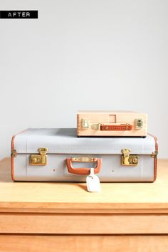 Painted vintage suitcase makeover using acrylic water-based paint