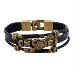 Fashion Handwork Jewelry,100% Genuine leather Bracelet Vintage Wrap Lover Pendant Bracelets & Bangles