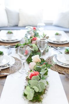 Floral and Moss Easter Tablescape - A Burst of Beautiful for your Spring kitchen and dining table decor | centerpieces and place settings