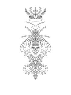 Queen Bee tattoo design by Vixy-Art on DeviantArt Sternum Tattoo Design, Floral Tattoo Design, Mandala Sternum Tattoo, Floral Mandala Tattoo, Abstract Tattoo Designs, Henna Tattoo Designs, Abstract Tattoos, Designs Mehndi, Forarm Tattoos