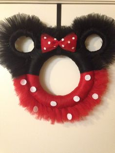 Minnie Mouse Wreath (pink or red) by DivineGlitters on Etsy https://www.etsy.com/listing/206613335/minnie-mouse-wreath-pink-or-red