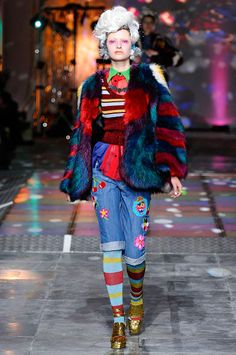 Meadham Kirchoff, Colour Fur Coat paired with Hippie inspired jeans!