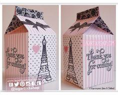 Cajita de Recuerdo Paris Torre Eiffel Rosa Negro Encaje