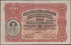 Switzerland currency 500 Swiss Francs banknote
