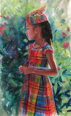 Kejeem Holding Beads Black Girl Art, Black Women Art, Art Girl, Black Art Painting, Black Artwork, Copic Drawings, African Art Paintings, Haitian Art, Black Art Pictures