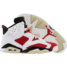 Air Jordan 6 VI Retro Countdown Split (white black carmine) Shoes ($280) ❤ liked on Polyvore featuring shoes, sneakers, jordans and shoes.
