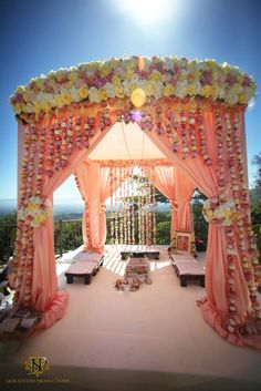 pink fabric and floral #mandap wedding reception. #indianwedding #chuppah