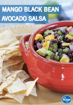 Party time? Make this festive Mango Black Bean Avocado Salsa recipe from Inspired Gathering for the perfect easy appetizer dish that is sure to get the party started!