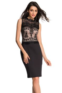 a32aa157420c Glamorous Lace Detail Black Bodycon Dress only US$21.39 ,free shipping to  worldwide! Dress