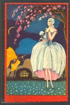 KQ149 Art Deco UNS Chiostri Easter Lady Marquise Moon Man Guitar Degami 3525 | eBay