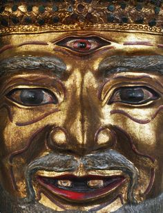 Thai Hermit mask with eye of Fire ( third eye ) - Private collection of Stephane Peray - French artist in Bangkok.