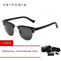 9268b54ee0 VEITHDIA Unisex Retro Aluminum Magnesium Sunglasses Polarized Mirror Vintage  Outdoor Eyewear Accessories Sun Glasses 6690 (. Men s ...