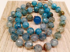 Beautiful sky blue Cracked Agate beaded necklace Drapes softly Ultimately Feminine Shades of Blue and brown Women Mother's Day Gift Stunning by wandandwear on Etsy